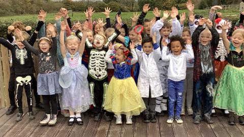 children in fancy dress, with their hands in the air, in a group photo