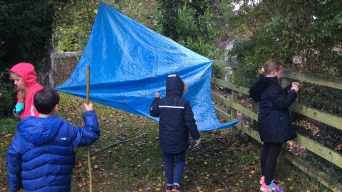 Children building a den