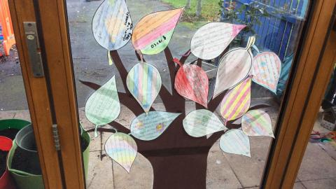 class display of a thankful tree where the leaves describe what the children are thankful for this year